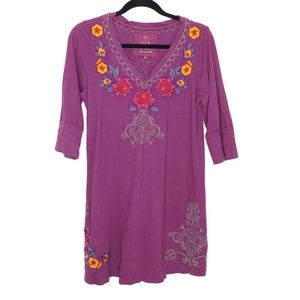 Johnny Was Purple Embroidered Cotton T-Shirt Large